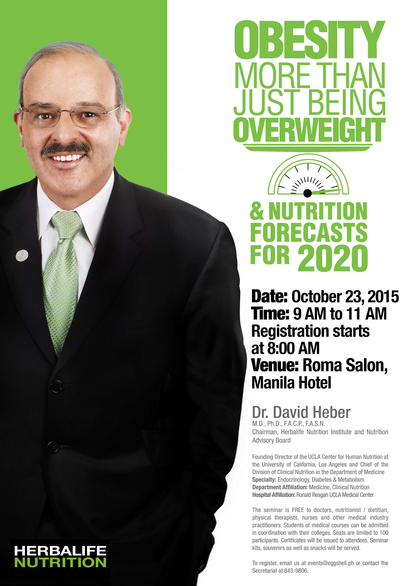 Top Endocrinologist Dr. David Heber to Hold Free Seminar for Medical Practitioners