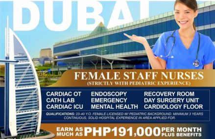 Children's Specialty Hospital in Dubai hiring staff nurses, monthly salary up to P191,000