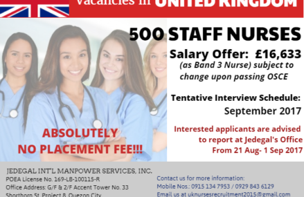 Jedegal Int'l needs 500 staff nurses for UK