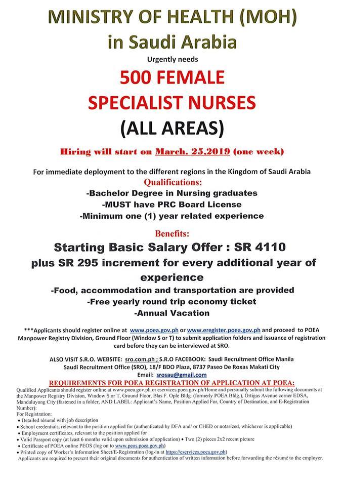 Saudi MOH hiring for nurses